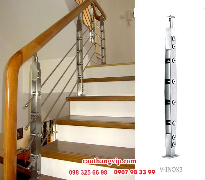 Cầu thang kính INOX I04